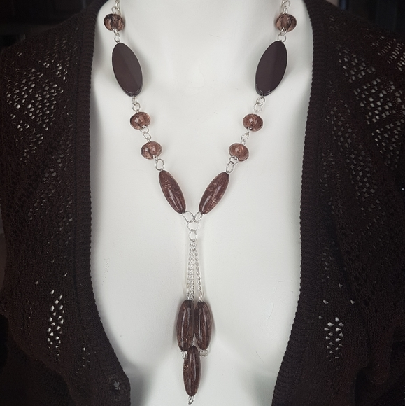 Brown silver bead necklace